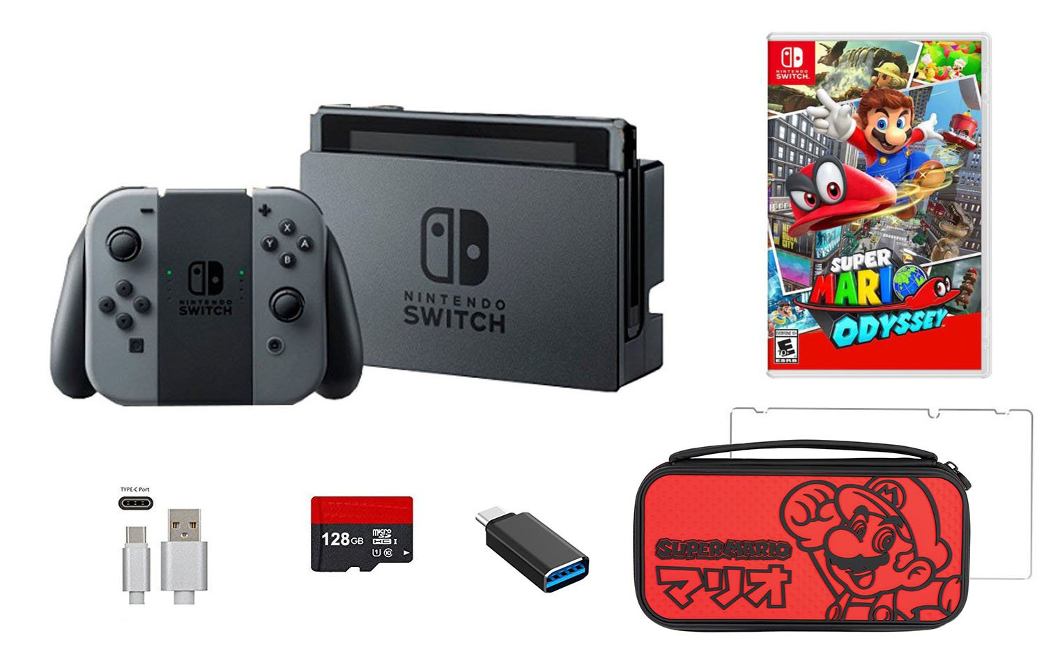 Nintendo Switch Bundle (7 items):Nintendo Switch 32GB Console Gray Joy-con,128GB Micro SD Memory Card,HDMI Cable,USB C Adapter,Screen Protector,Console Case - Red and Mario Odyssey Game Disc