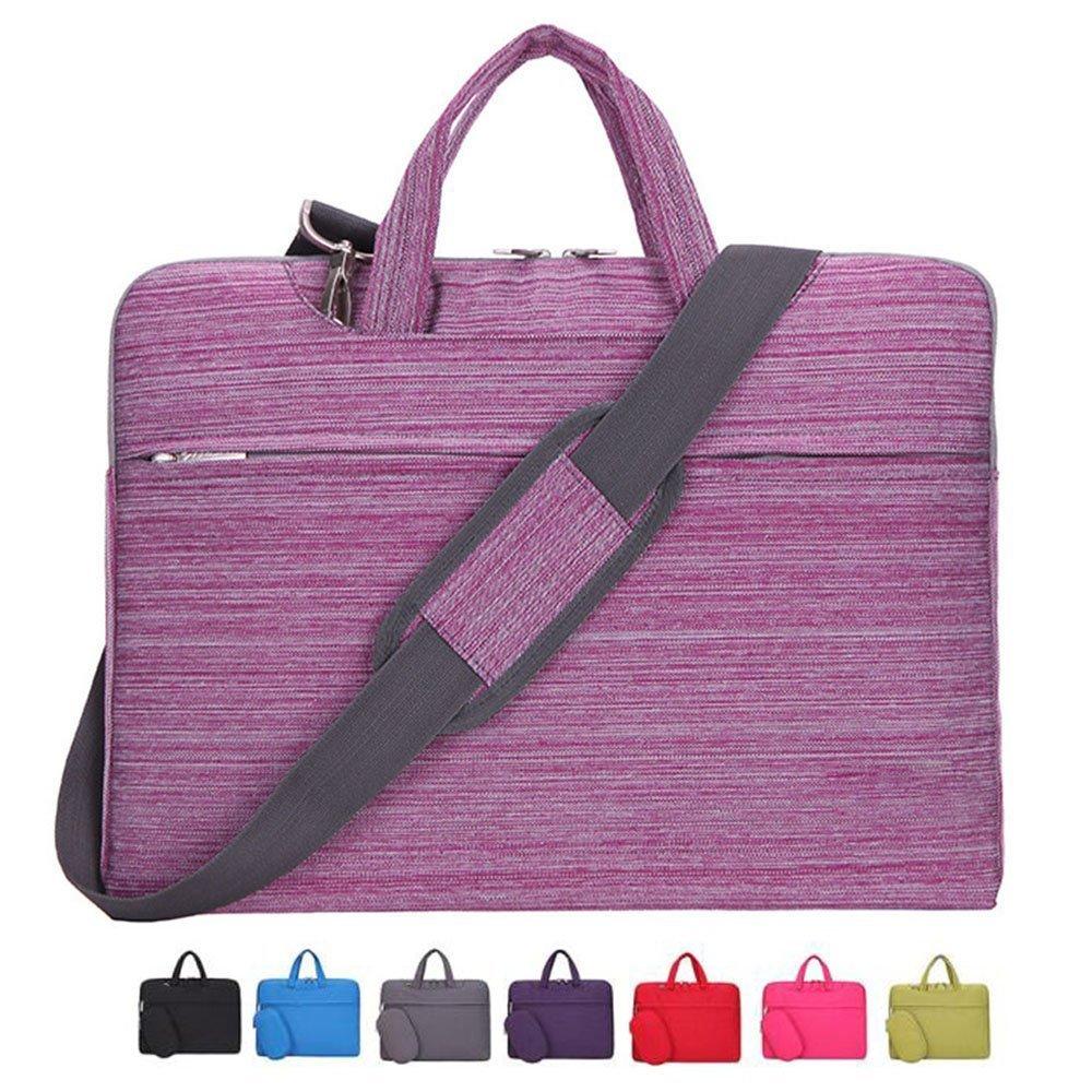Laptop Case, Laptop Shoulder Bag, CROMI 13 - 13.3 Inch Simplicity Slim Briefcase Commuter Bag Business Sleeve Carrying Handle Bag Nylon Waterproof Notebook Shoulder Messenger Bag (Stripe Pink) by CROMI (Image #1)