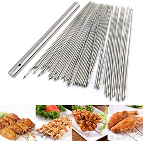 Barbecue Skewers Twist String with Wooden Handle BBQ Stick Needles Cooking 12Pcs