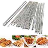 BigOtters Barbecue Skewers, 100 PCS Stainless Steel Barbecue Skewer BBQ Needle Sticks with Holder for Outings Cooking…