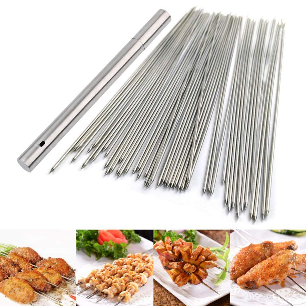 Barbecue Skewers, 100 PCS Stainless Steel Barbecue Skewer BBQ Needle Sticks with Holder for Outings Cooking Tools by BigOtters