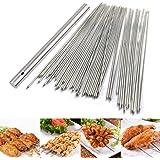 BigOtters Barbecue Skewers, 100PCS Skewers for Grilling Stainless Steel Skewers BBQ Needle Sticks Metal Skewers for Meat Shri