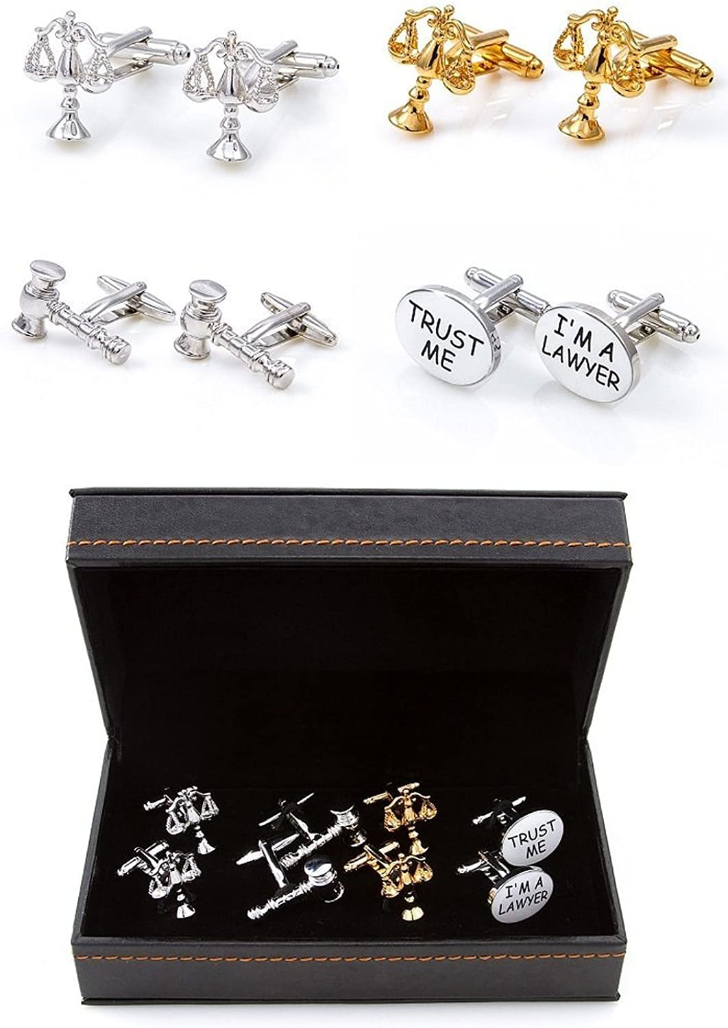 Mens Lawyer Attorney Judge 4 Different Pairs Shirt Cufflinks With Presentation Gift Box Suit Wedding Business