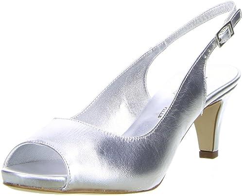 Vista Damen Slingpumps Silber, Größe:36, Farbe:Silber