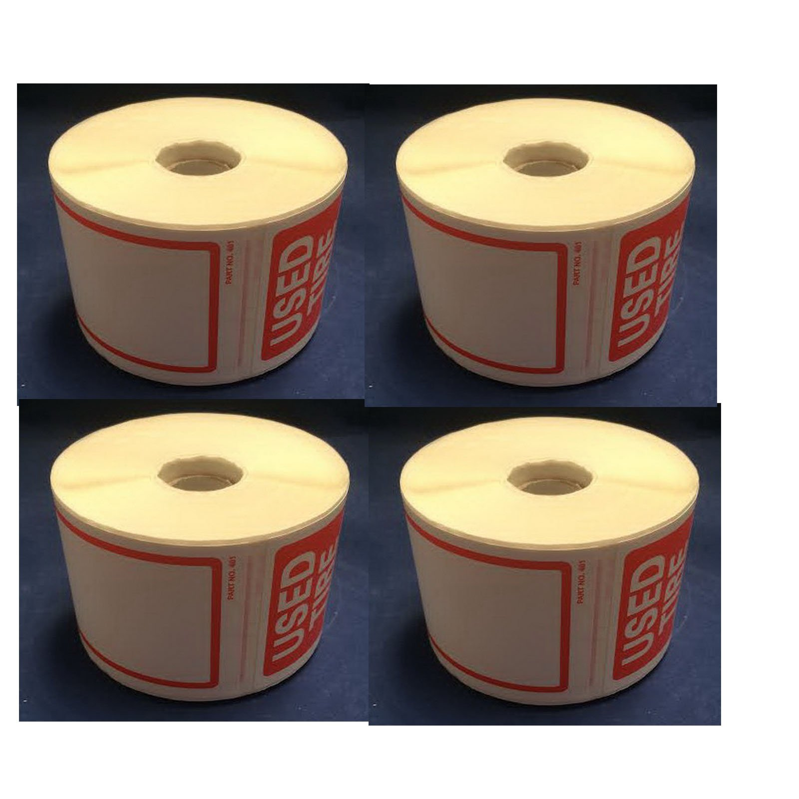 Tire Label - Used Tire 4 Rolls of 250 Stickers Total 1000 Stickers Size 6'' X 2-1/2'' (150mm X 63.50mm)
