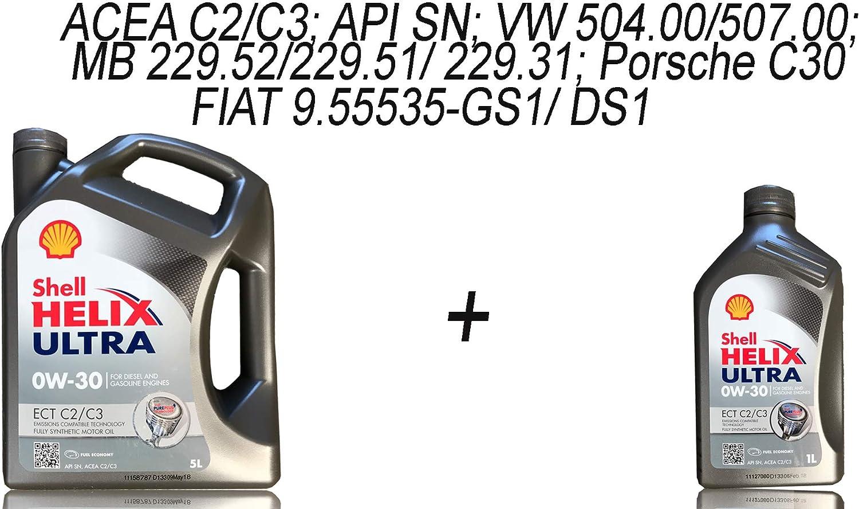 1x5 1x1 Litre Shell Helix Ultra Ect C2 C3 0 W 30 Motor Oil 5 Litres Auto