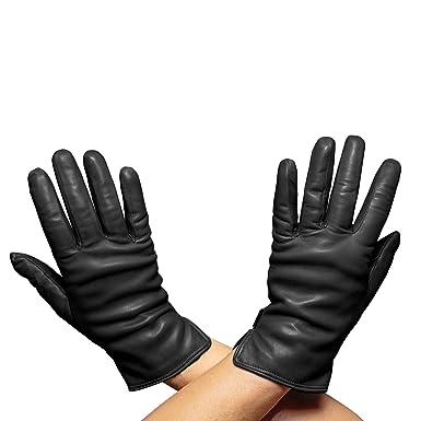 be0612172af7d Beau Gant Handmade Italian Leather Gloves, Womens, Cashmere Lined (6.5,  black)
