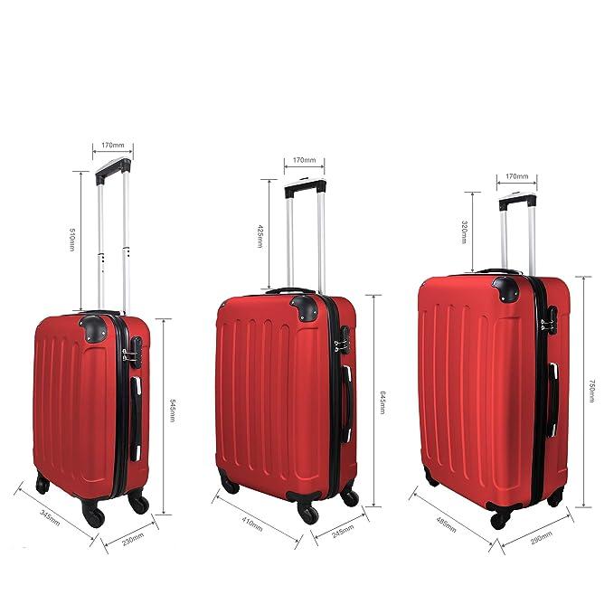 Todeco - Juego de Maletas, Equipajes de Viaje - Material: Plástico ABS - Tipo de Ruedas: 4 Ruedas de rotación de 360 ° - 51 61 71 cm, Rojo, Esquinas ...