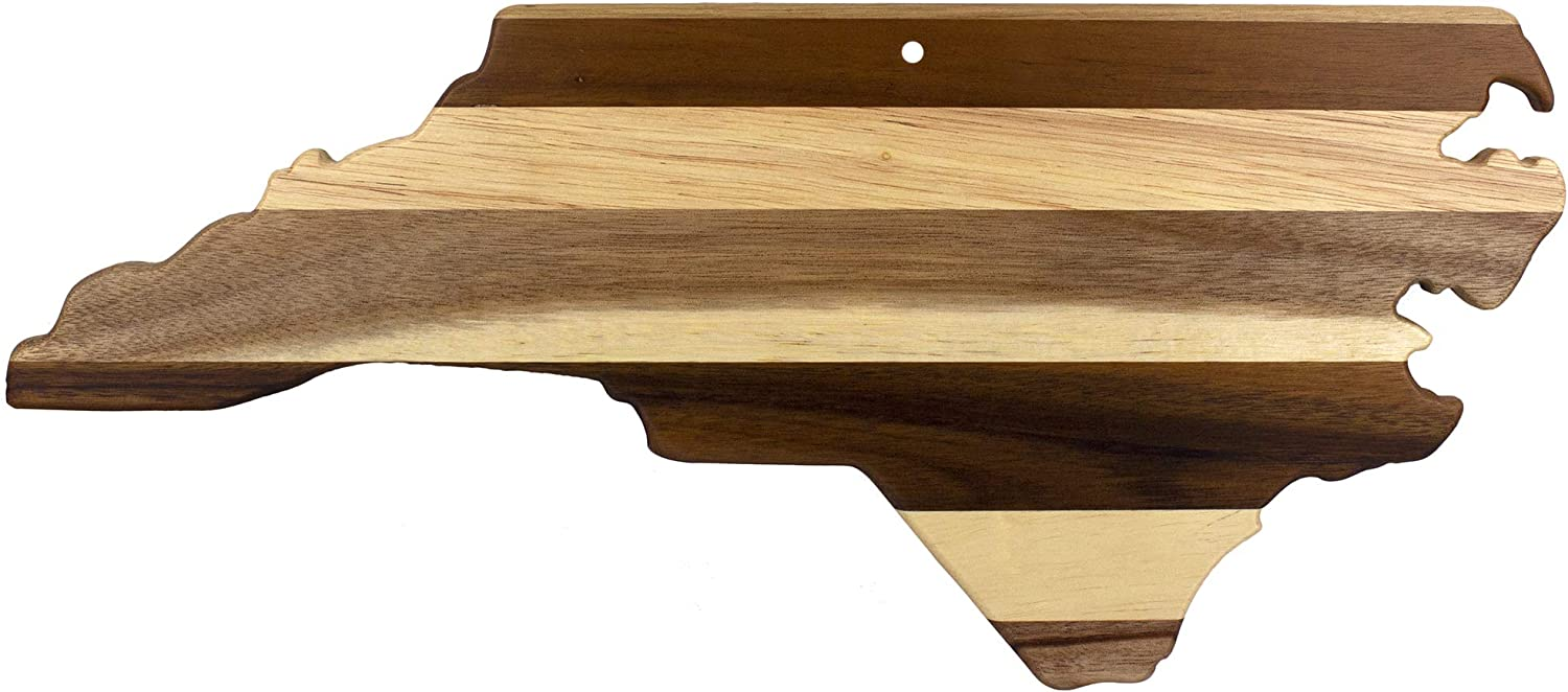 Totally Bamboo Rock & Branch Series Shiplap North Carolina State Shaped Wood Serving and Cutting Board | Great for Wall Art