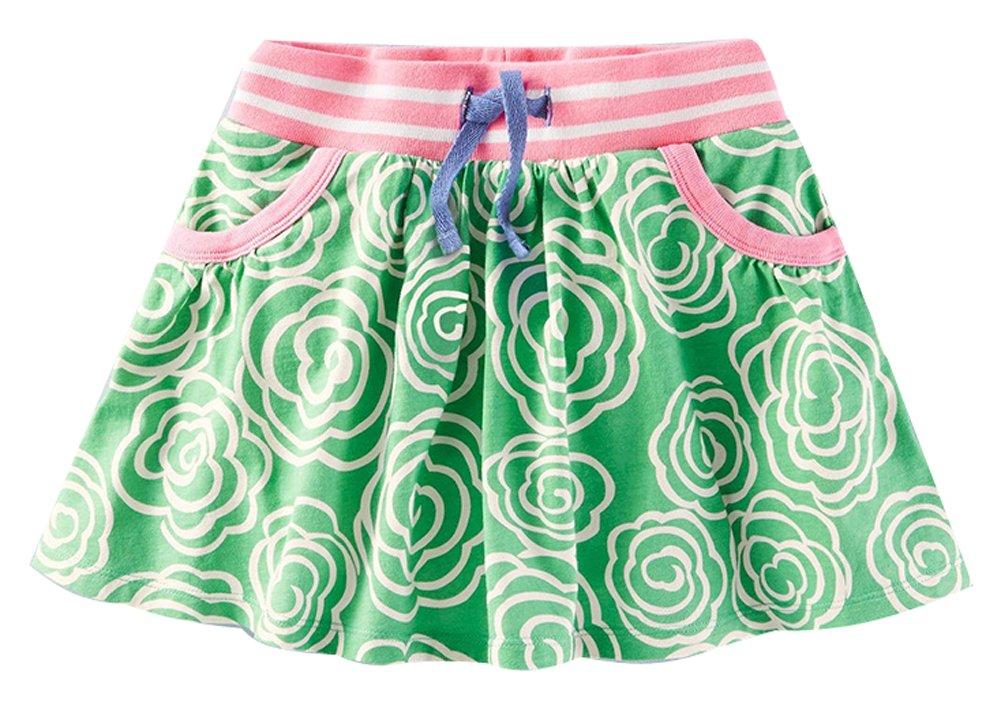 Fiream Girls Summer Cotton Water Printing Beach Skirt(S0169,18M)