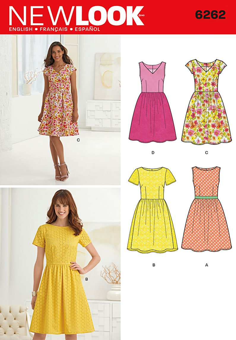 New Look Sewing Pattern 6262 - Misses Dresses Sizes: (10-12-14-16-18-20-22) by New Look