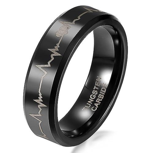 JewelryWe Joyas 6mm anillo anillo de tungsteno negro con láser siempre amor del diseño del corazón