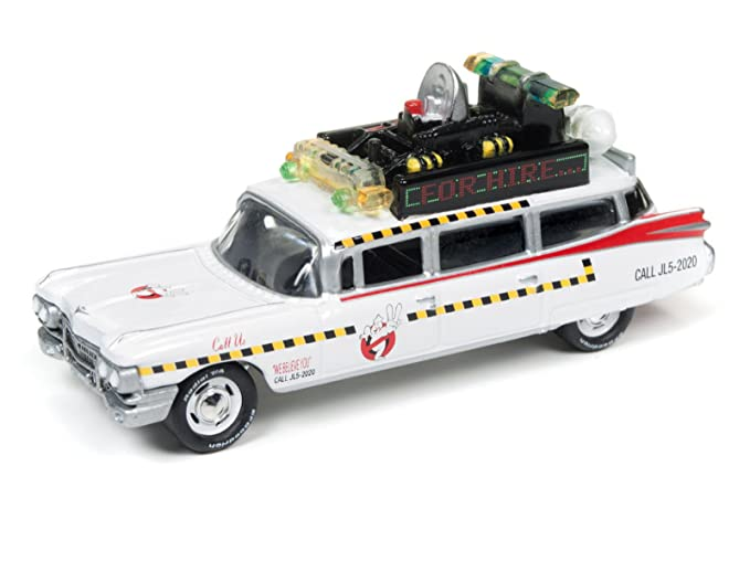 Johnny Lightning JLDR001-GH ECTO 1A 1959 Cadillac Ambulance and 1977 Dodge  Monaco New York City Police with Figurines from Ghostbusters 1 Movie 1/64