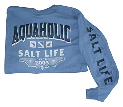 db8da6a17875 Salt Life Men's Long Sleeve Graphic Pocket Tee Shirt T-Shirt (Medium,  Chambray Blue - Aquaholic Icons) | Amazon.com