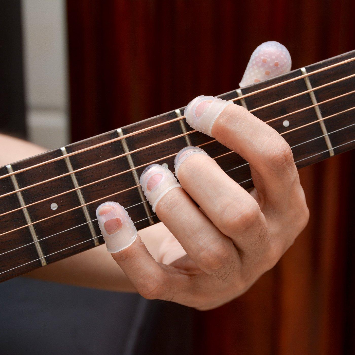 Vancool L / M / S / XS / XXS Claro guitarra protector dedos silicona Para guitarra, Ukulele, Juego de 15 + 4 surtido Plumillas de guitarra: Amazon.es: ...