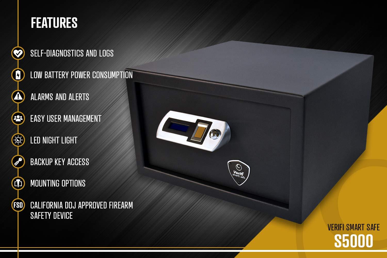 Tamper and Open Door Alerts Self-Diagnostics and Low Battery Power Consumption Verifi Smart.Safe Biometric Quick-Access Handgun Safe with FBI Certified Fingerprint Sensor