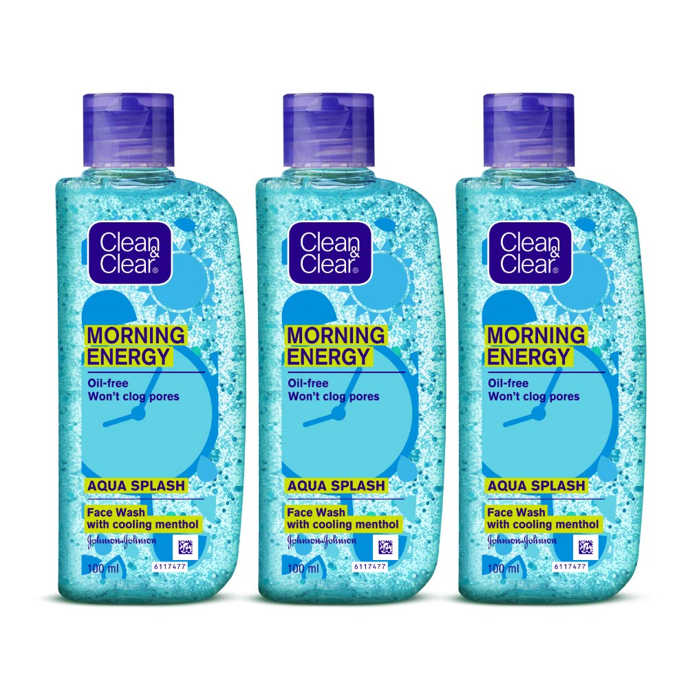 Clean & Clear Morning Energy Aqua Splash, Blue, 100 ml (Pack of 3)
