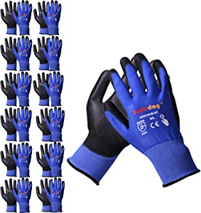 12 Pairs PU Coated Work Gloves Touchscreen, Smooth Grip, Breathable & Lightweight, Durable, Knit Wrist Cuff Working Gloves for Warehouse Used and Handling Light Duty Work