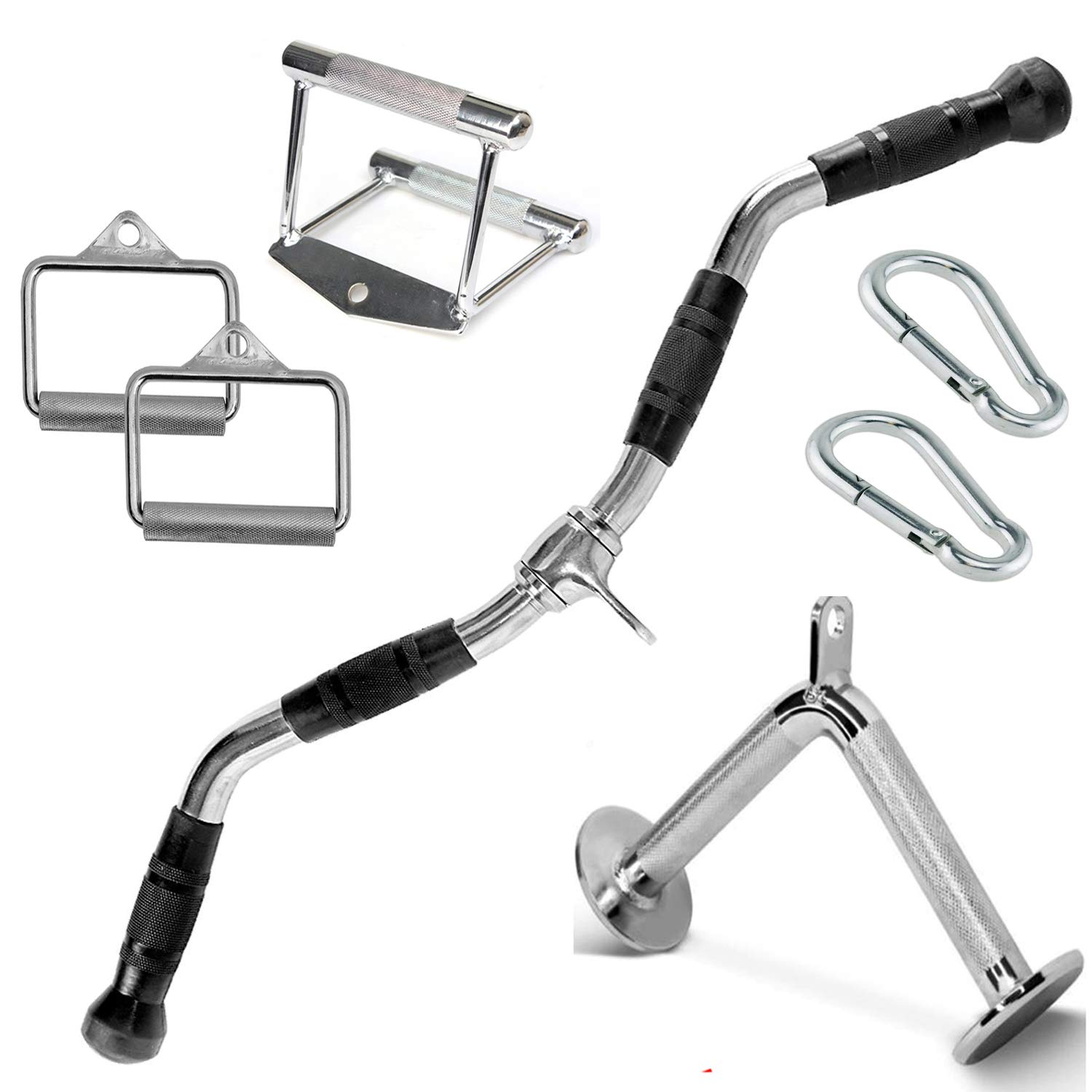 FITNESS MANIAC Home Gym Cable Attachment Handle Machine Exercise Chrome PressDown Strength Training Home Gym Attachments 30 inch Curl Bar Set (7 Pieces Set) by FITNESS MANIAC (Image #2)