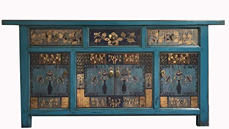 Credenze Vintage Colorate.Opium Outlet Cinese Grande Credenza Cassettiera Shabby Chic