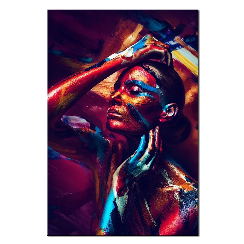 Live Art Decor - Sexy Girl Canvas Wall Art,Colorful Body Art Painting Print on Canvas,Gallery Wrapped,Nude Prints Picture for Home or Hotel Decoration -24''x 36''