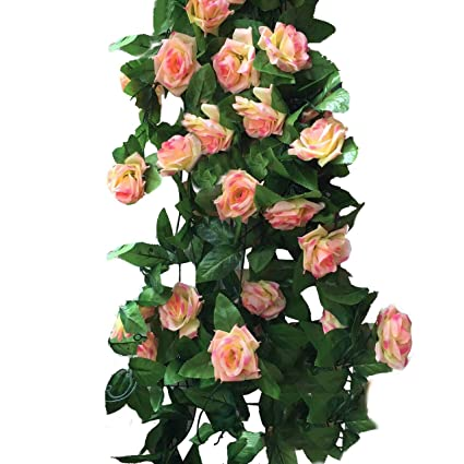 Amazon miracliy 2 pack 15 ft fake rose vine flowers plants miracliy 2 pack 15 ft fake rose vine flowers plants artificial flower home hotel office wedding mightylinksfo