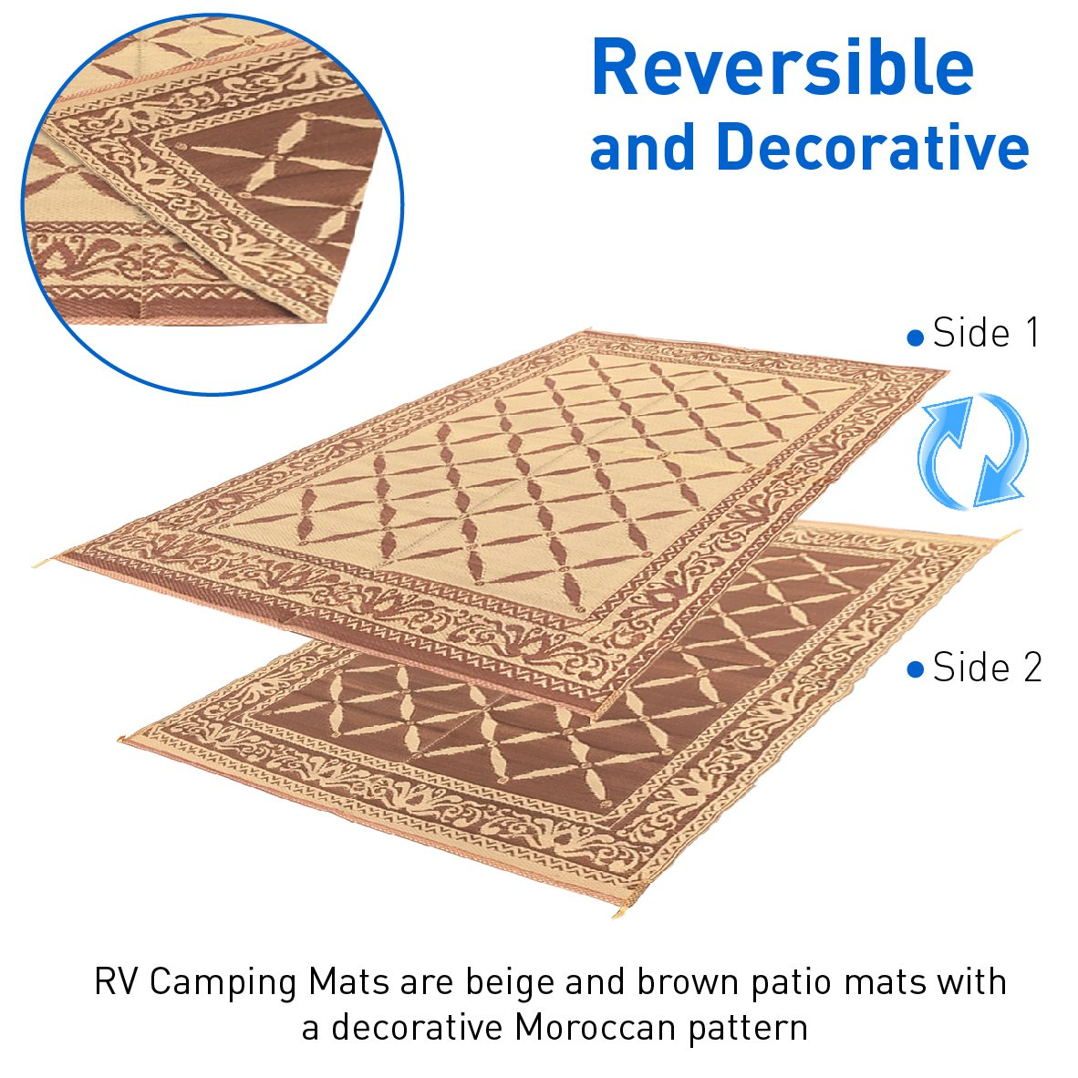 Outdoor Reversible Camping Patio Mat RV Picnic Rug Carpet 9x12 w/ Carrying Strap