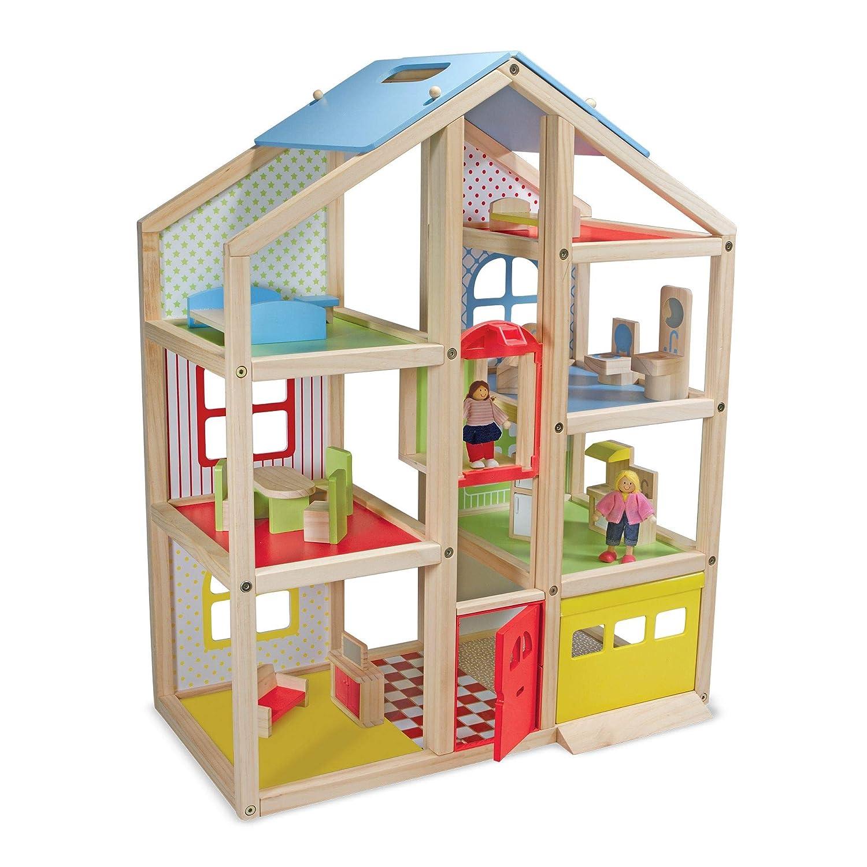 Melissa & Doug Puppenhochhaus aus Holz mit Möbeln und Spielfiguren (18 Teile)