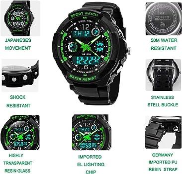 Reloj digital para niños con 12/24 horas/Alarma/cronómetro, niños ...
