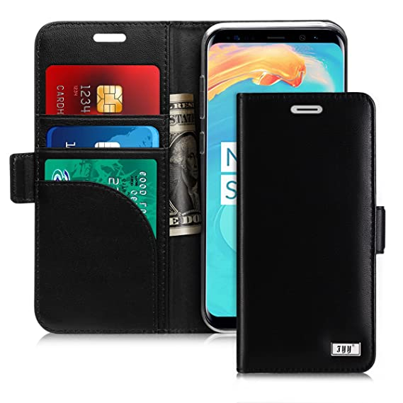 quality design 100b8 86e2c FYY [Genuine Leather] Wallet Case for Samsung Galaxy S8+ Plus 2017,  Handmade Flip Folio Wallet Case with Kickstand Card Slots Magnetic Closure  for ...