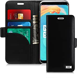 FYY Samsung S8 Plus Case, S8 Plus Cover [Kickstand Feature] Flip Folio Samsung Galaxy S8 Plus Genuine Leather Wallet Case with [Card Slots] [Note Pockets] and [Magnetic Closure] Phone Case for Samsung Galaxy S8 Plus Black