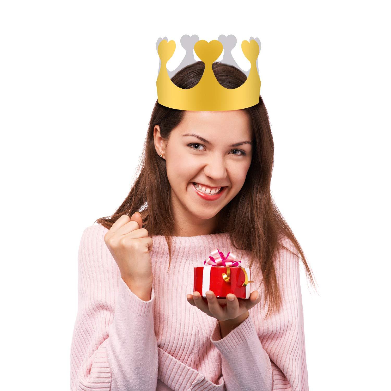 5 Stili SIQUK Corona di Carta 40 Pezzi Cappelli Corona per Bambini Adulti Festa la Festa di Compleanno