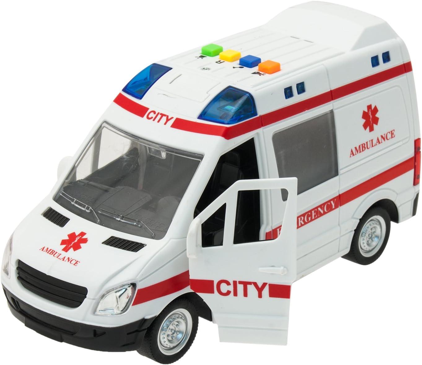 TEOREMA Coches con Luces y Sonidos (Escala 1:16) Ambulancia de urgencias con Luces y Sonidos a Escala de 1:16