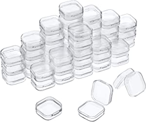 48 Packs Clear Small Plastic Containers Transparent Storage Box with Hinged Lid for Small Items Crafts Jewelry (1.37 x 1.37 x 0.7 Inches)