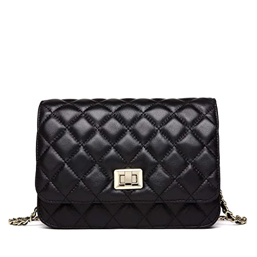 NEVEROUT Women Soft Lamb Leather Classic Quilted Cross-body Shoulder Bag  Clutch Handbag Purse with ba760f6d480e4