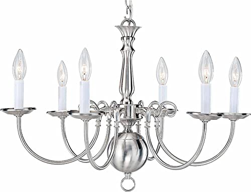Volume Lighting V3556-33 6 Light Brushed Nickel Chandelier