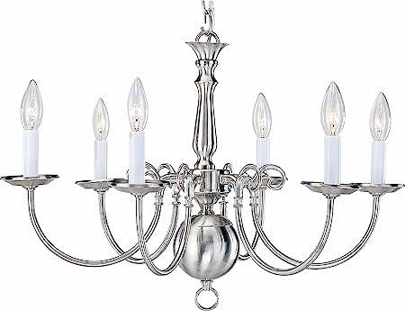 Volume Lighting V3556-33 6 Light Brushed Nickel Chandelier