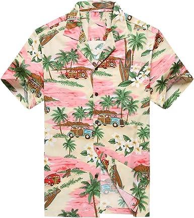 Hecho en Hawaii Camisa Hawaiana de los Hombres Camisa Hawaiana 2XL PlumeriaPalma Mini Tablas de Surf Rosado: Amazon.es: Ropa y accesorios