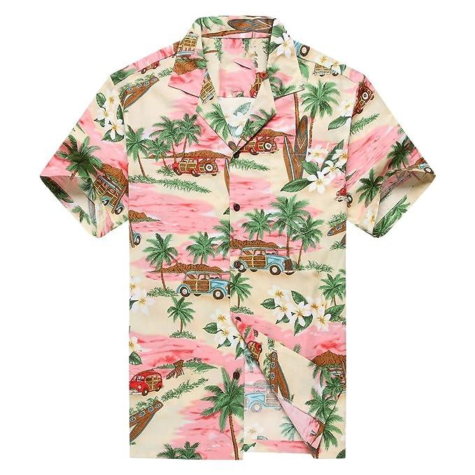 Hecho en Hawaii Camisa Hawaiana de los Hombres Camisa Hawaiana PlumeriaPalma Mini Tablas de Surf Rosado: Amazon.es: Ropa y accesorios