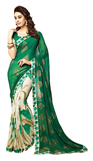 ARV ENTERPRISE Women s Georgette Saree (Green and Off-White)  Amazon.in   Clothing   Accessories 44fc642e30