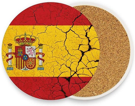 Compra Bandera de España con emblema redondo absorbente de piedra de cerámica para bebidas, posavasos de taza de café, juego de 1 en Amazon.es