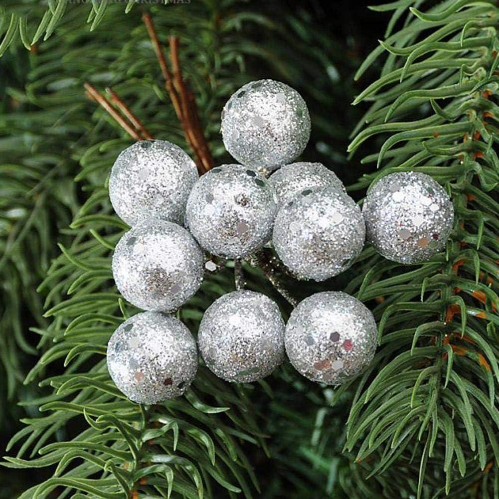 Falliback 10 Pezzi Palline Decorative Natalizie Appese Bagattelle Oro Slilver Palline Glitter Rosse Ornamenti Bacca Mazzo Taglio Frutta Natale per La Decorazione della Festa Nuziale