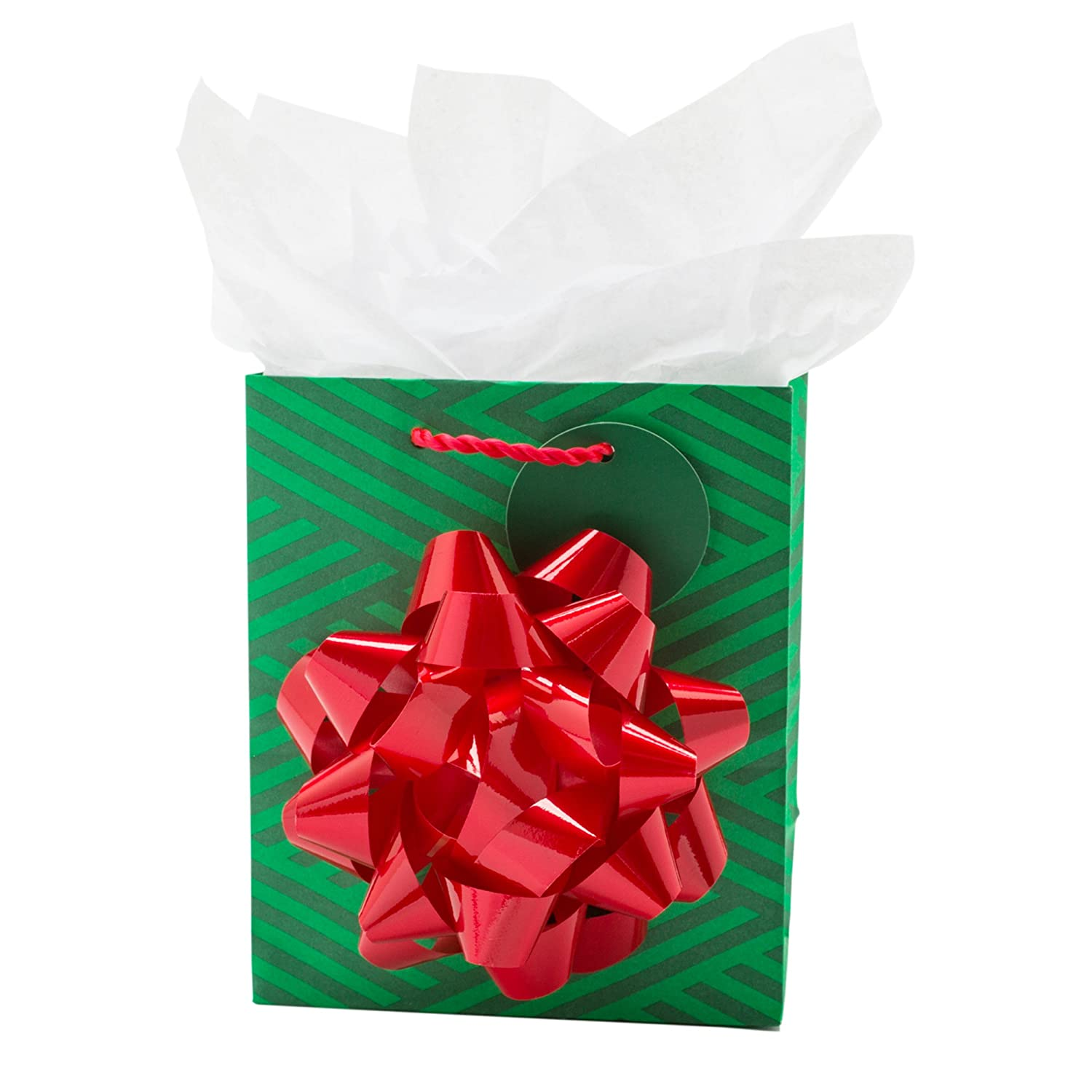Hallmark Small Christmas Gift Bag With Tissue Paper Green
