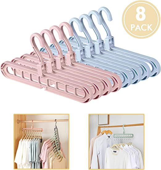 HOUSE DAY Magic Hangers Space Saving Hangers for Clothes Hangers Space Saving Wardrobe Clothing Hanger Oragnizer Closet Space Saver Hangers Renewed 12 Pack