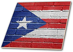 3dRose ct_156970_4 National Flag of Puerto Rico Painted onto a Brick Wall Rican Ceramic Tile, 12-Inch