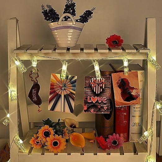 LED Foto Clips Cadena de Luces, Morbuy Guirnalda de Luces Pilas Guirnalda Luminosa Decoración Interior Habitación Fiesta de Navidad notas Halloween ...