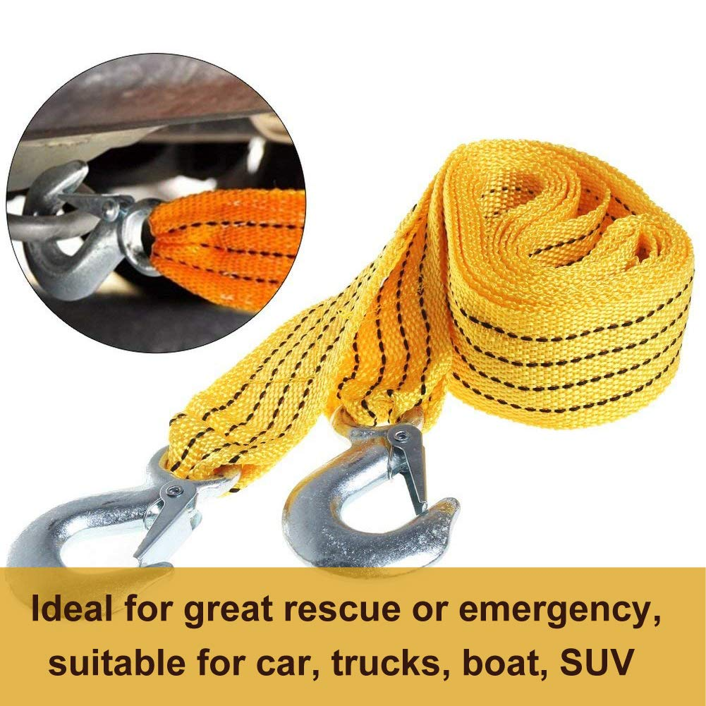 WENTS Fluorescent Nylon Car Tow Rope with Eagle Claw Hook 3 Meters High Strength Emergency Towing Rope Tow Rope