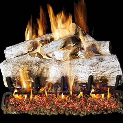 peterson real fyre 24 inch mountain birch log set with vented g45 natural gas burner rh amazon com