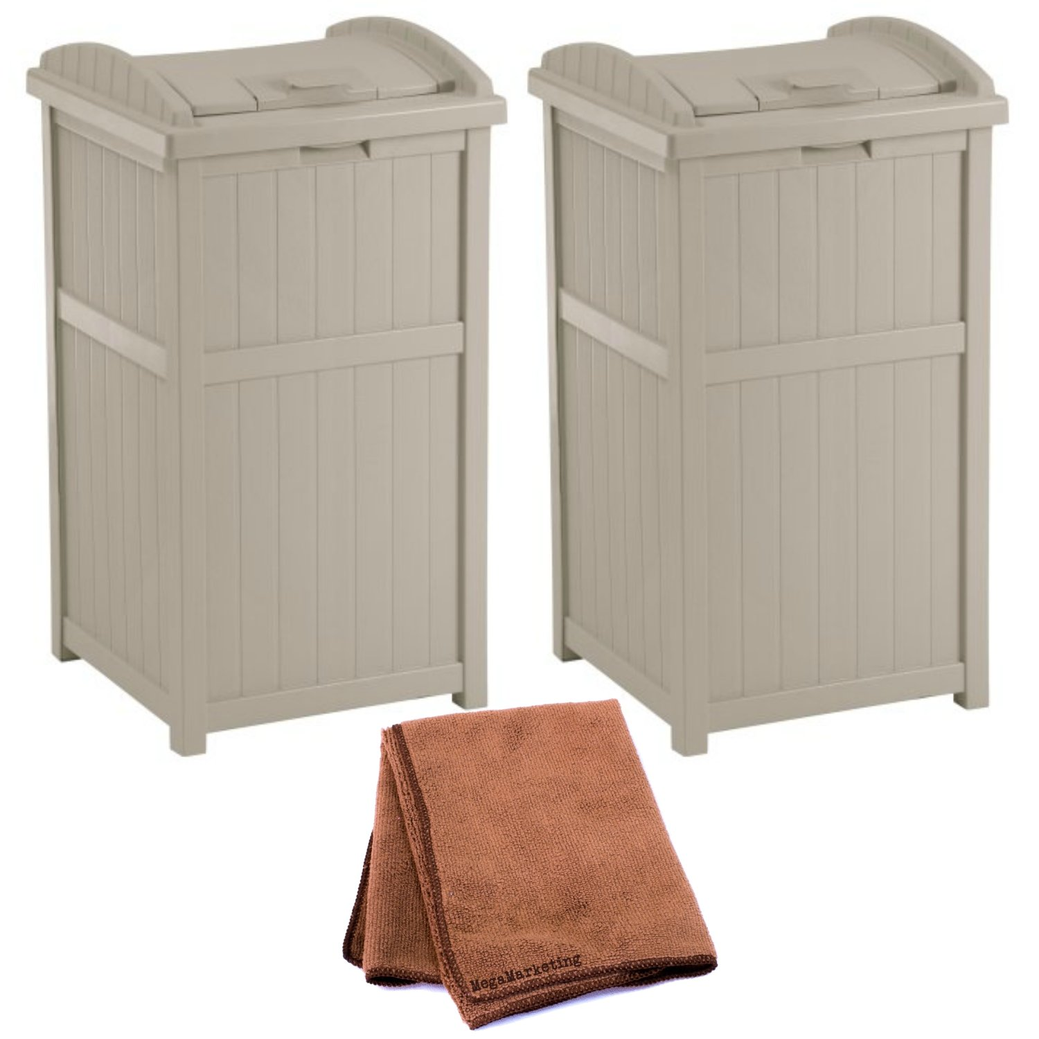 Suncast GH1732 Outdoor Trash Hideaway, Set of 2 with Cleaning Cloth