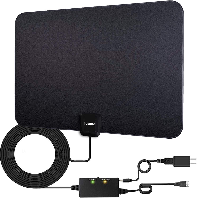 Home Innenantenne HD 1080P 4K TV Digital Antena Kabel Schwarz HDTV Antennen 1St